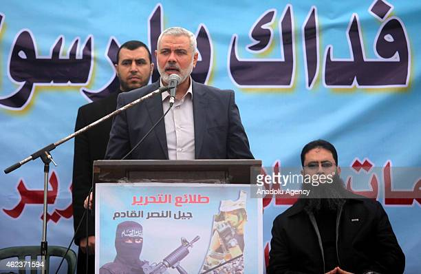 Senior Hamas leader Ismail Haniyeh gives a speech during a military parade of Ezzedin alQassam Brigades the armed wing of Hamas movement in Gaza on...