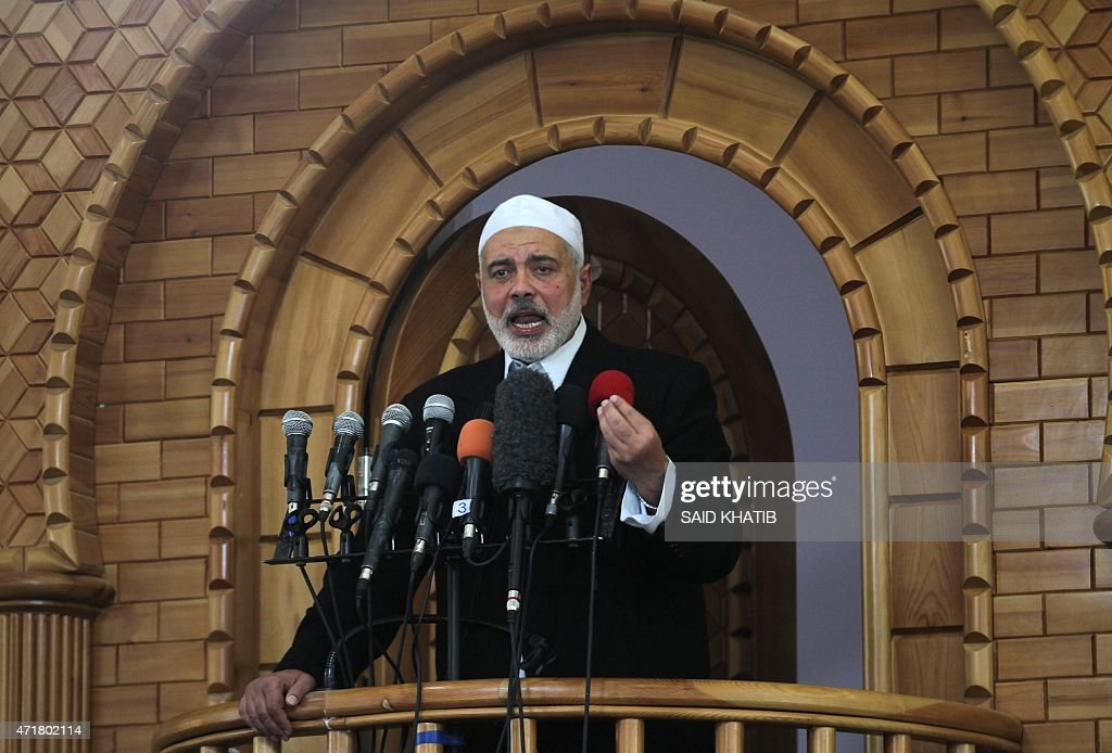 Senior Hamas leader <a gi-track='captionPersonalityLinkClicked' href=/galleries/search?phrase=Ismail+Haniyeh&family=editorial&specificpeople=543410 ng-click='$event.stopPropagation()'>Ismail Haniyeh</a>, gives a speech during Friday prayers in the southern Gaza Strip town of Rafah on May 1, 2015. AFP PHOTO / SAID KHATIB