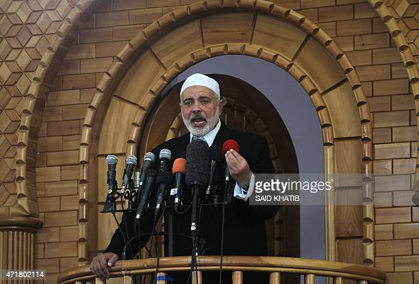 Senior Hamas leader Ismail Haniyeh gives a speech during Friday prayers in the southern Gaza Strip town of Rafah on May 1 2015 AFP PHOTO / SAID KHATIB