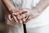 Senior Hands With Crutch