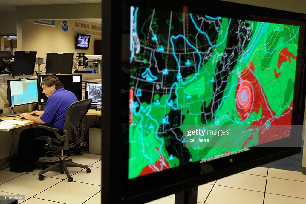 Senior Hurricane Specialist Jack Beven tracks Hurricane Irene at the National Hurricane Center on August 24, 2011 in Miami, Florida. Irene is on track to move over the Bahamas as a category 3 storm and from there cooler ocean temperatures are expected to lessen the wind speeds, but it could still be a major storm as it approaches the North Carolina coast August 27.