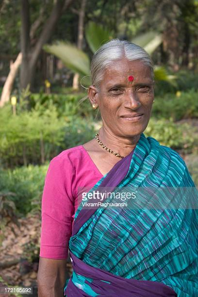 Senior Indian Rural Lady Woman Female Cheerful Vertical Traditional Sari