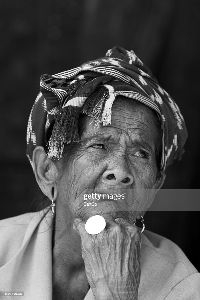 Senior Indonesian Woman, Black and White Portrait : Stock Photo