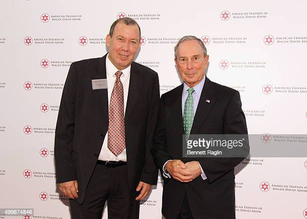 Senior Israel Representative Moshe Noyovich and Former Mayor of New York City Presenter Michael Bloomberg attends AFMDA Red Star Gala at The Grand...