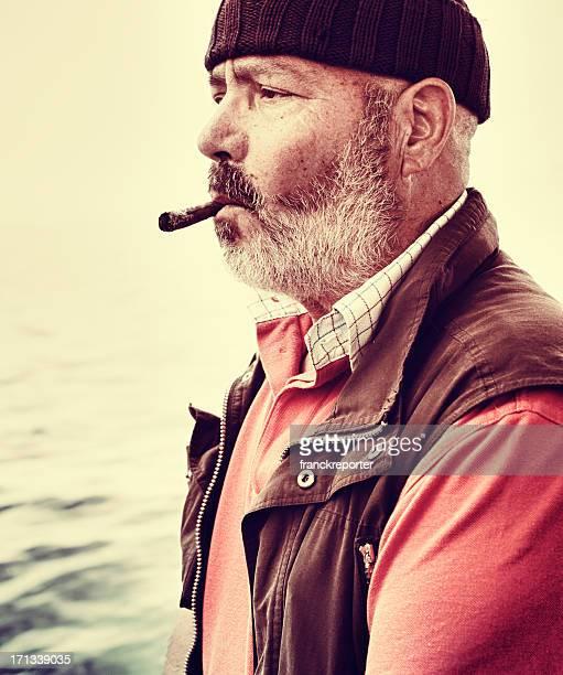Senior italian fisherman