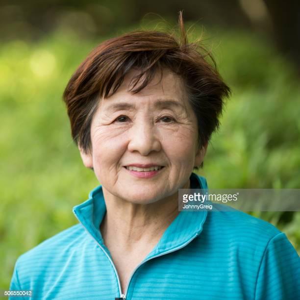 Senior Japanese woman head and shoulders potrtrait