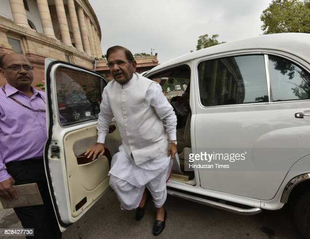 Senior JDU leader Sharad Yadav arrives at the Parliament for the Monsoon Session on August 9 2017 in New Delhi India