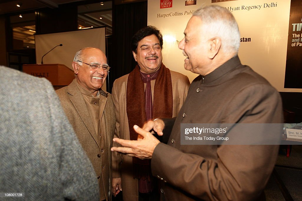 Senior journalist Prabhu Chawla and BJP leaders Shatrughan Sinha and Yashwant Sinha interact on the sidelines of the launch of M.J. Akbar's book in New Delhi on Tuesday, January 11, 2011.