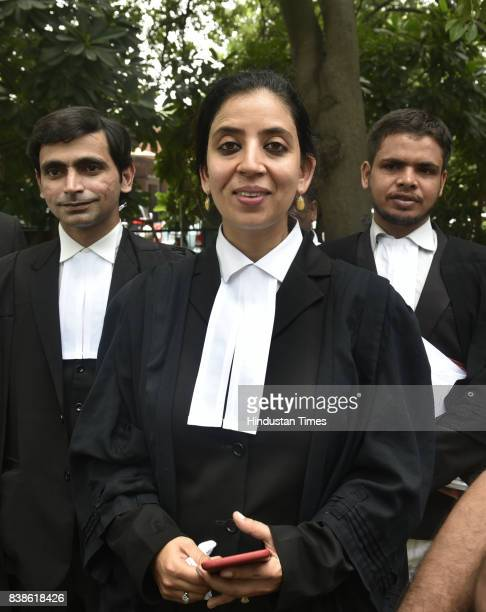 Senior lawyer Aishwarya Bhat talks to media about the right to privacy judgment at the Supreme Court on August 24 2017 in New Delhi India Ninejudge...