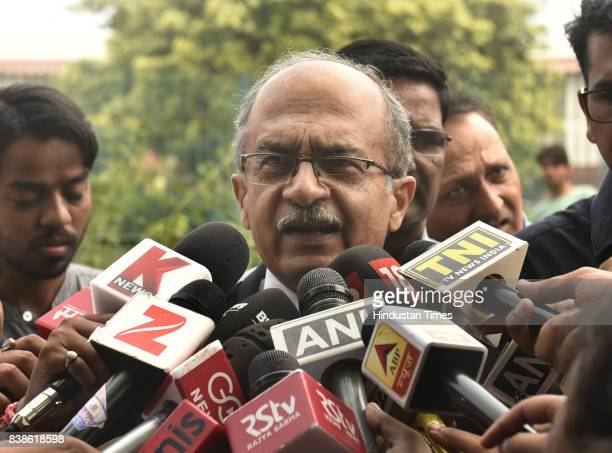 Senior lawyer Prashant Bhushan addresses media about the right to privacy judgment at the Supreme Court on August 24 2017 in New Delhi India...