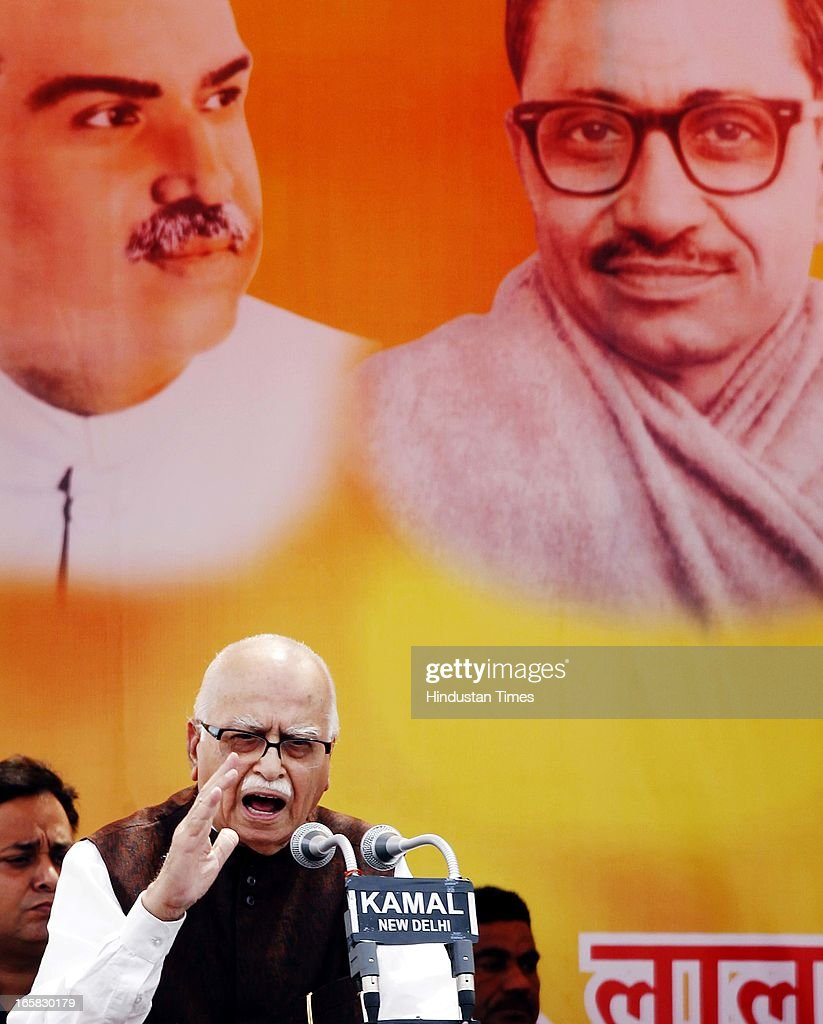 BJP Senior leader L K Advani addressing the party members at BJP Headquarter on the occasion of 33rd foundation day of BJP April 6, 2013 in New Delhi, India. In 1980, the leaders and workers of the former Bharatiya Jana Sangh, founded the Bharatiya Janata Party with Vajpayee as its first president.