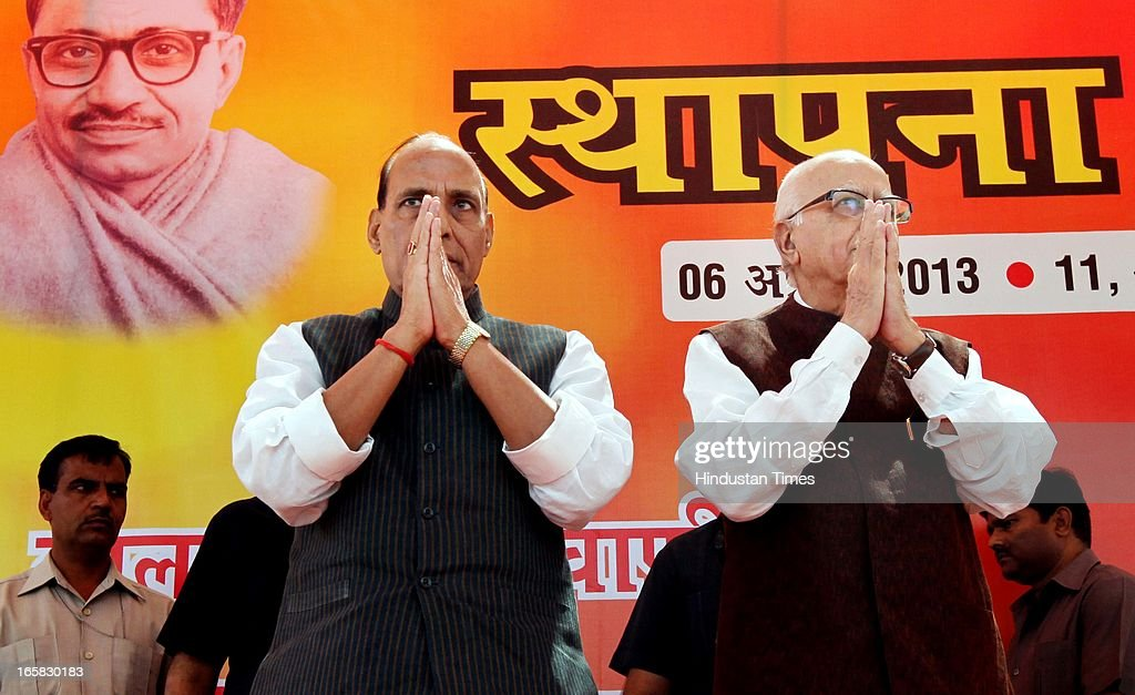 BJP Senior leader L K Advani and BJP President Rajnath Singh at BJP Headquarter on the occasion of 33rd foundation day of BJP April 6, 2013 in New Delhi, India. In 1980, the leaders and workers of the former Bharatiya Jana Sangh, founded the Bharatiya Janata Party with Vajpayee as its first president.