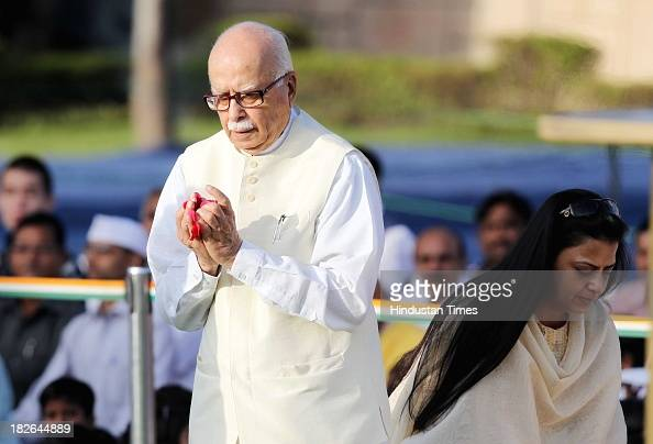 Senior leader L K Advani and his daughter Pratibha Patil paying homage to the Father of the Nation Mahatma Gandhi on the occasion of his 144th birth...