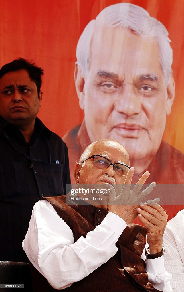 BJP Senior leader L K Advani before addressing the party members at BJP Headquarter on the occasion of 33rd foundation day of BJP April 6, 2013 in New Delhi, India. In 1980, the leaders and workers of the former Bharatiya Jana Sangh, founded the Bharatiya Janata Party with Vajpayee as its first president.
