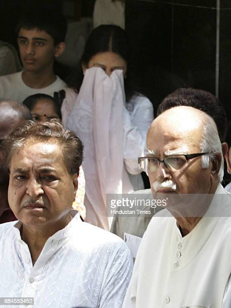 BJP senior leader LK Advani attending the funeral of his brother in law Santu Narayandas Bhavnani who passed away on Saturday due to prostate cancer...
