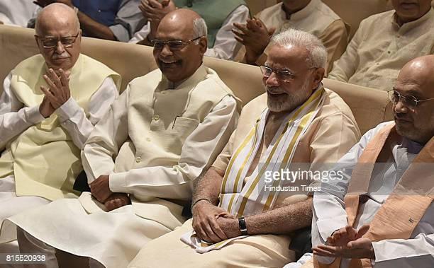 BJP senior leader LK Advani NDA Presidential candidate Ramnath Kovind Prime Minister Narendra Modi along with BJP President Amit Shah and others...