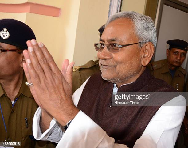 senior leader Nitish Kumar after Jitan Ram Manjhi resigned as Bihar Chief Minister on February 20 2015 in Patna India Former chief minister of Bihar...