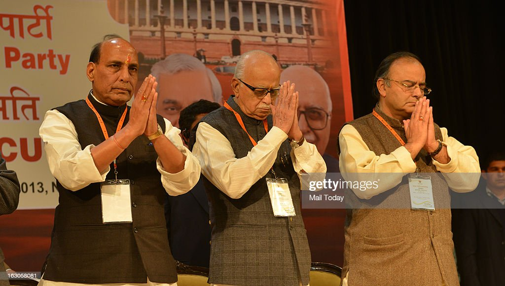 BJP senior leader Rajnath Singh, LK Advani and Arun Jaitley at BJP National Executive in New Delhi on Friday.