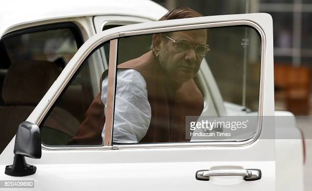 Senior Leader Sharad Yadav coming his car for Monsoon Session at parliament House on July 21 2017 in New Delhi India