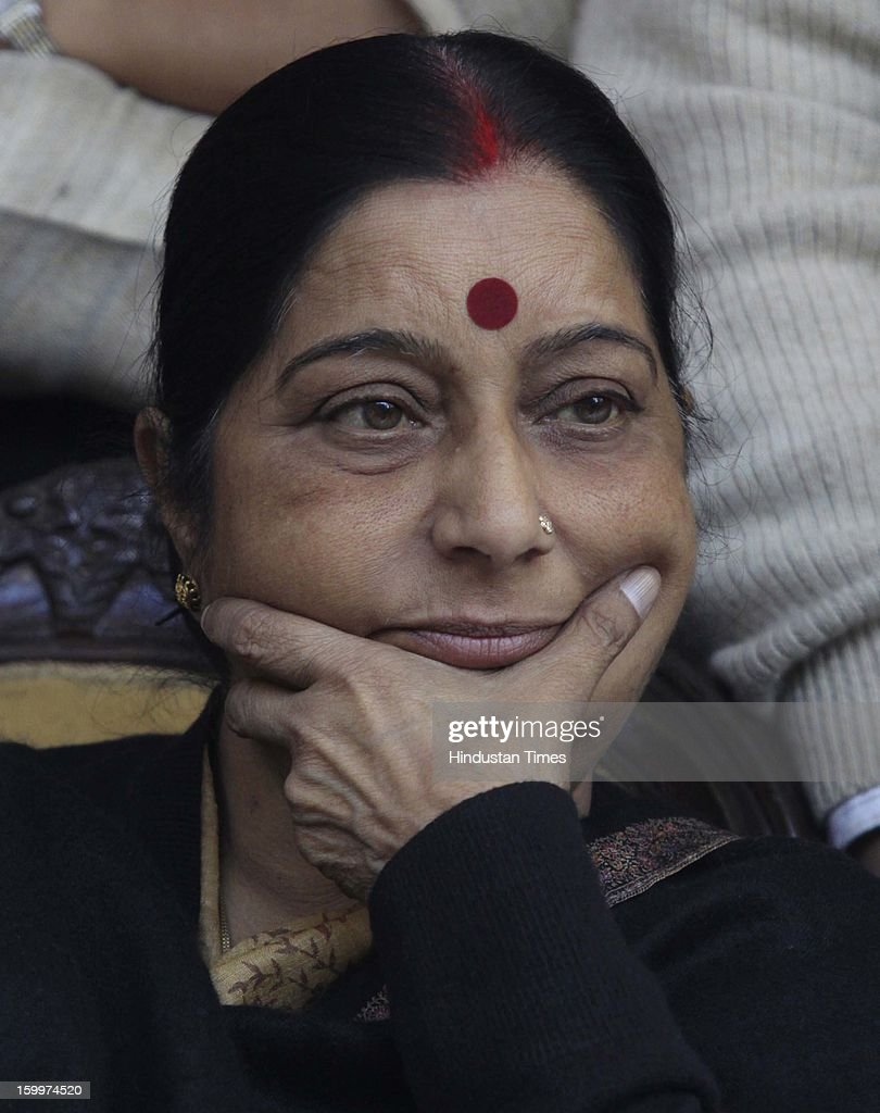 BJP senior leader Sushama Swaraj gestures during a Dharna Protest against the Home Minister Sushil Kumar Shinde's Hindu terror remarks.at the Jantar Mantar on January 24, 2012 in New Delhi, India. Home minister Shinde has alleged that BJP and RSS were behind Hindu terror during recently held Congress Conclave at Jaipur.