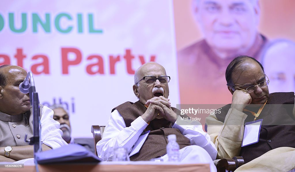BJP senior leaders Arun Jaitley, LK Advani and Rajnath Singh during the BJP National Council meeting in New Delhi on Saturday.