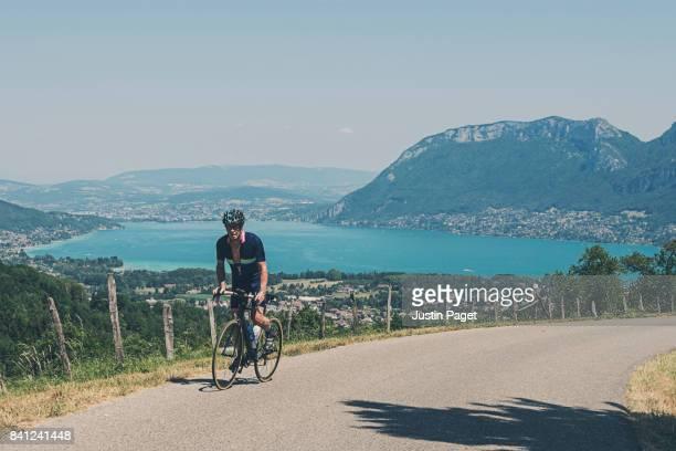 Senior Male Cycling near Lake Annecy