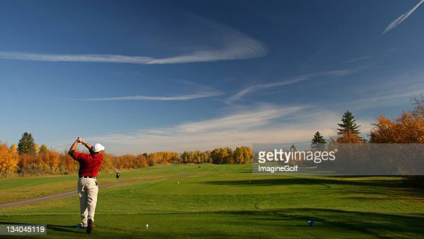 Senior Male Golfer in Autumn Golf Scenic