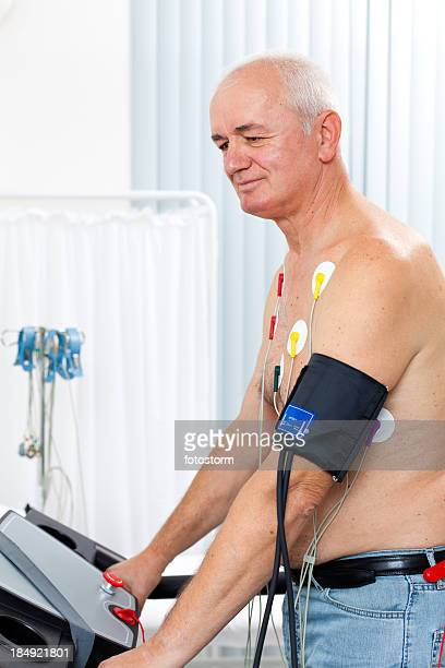 Senior male patient having a cardiac stress test