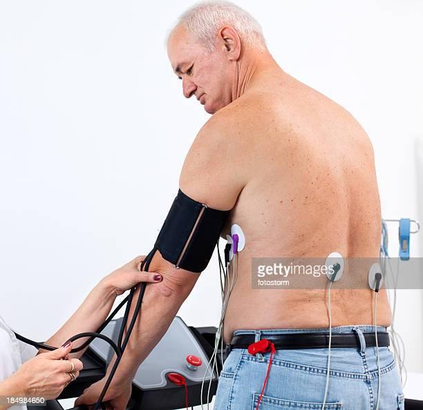 Senior male patient having a cardiac stress test
