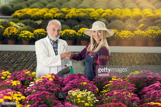 Senior male scientist and female owner of a greenhouse shaking hands