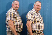 Senior male twins wearing matching checked short sleeved shirts