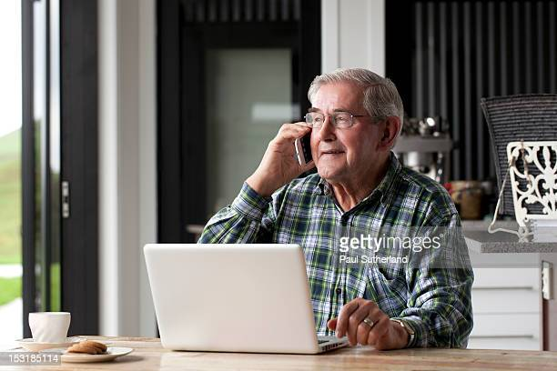Senior male with Technology
