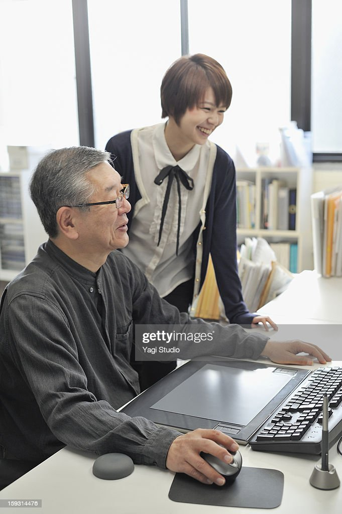 Senior man and Businesswoman meeting  in the offic : Stock Photo