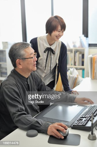 Senior man and Businesswoman meeting  in the offic : Bildbanksbilder