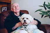 Senior man sitting at home with his pet Shih Tzu dog on his knee.