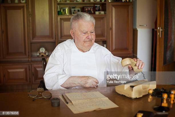 Senior man at home office