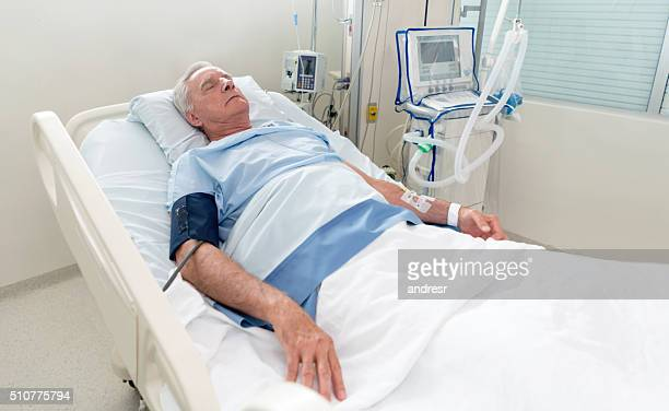 Senior man at the Intensive Care Unit
