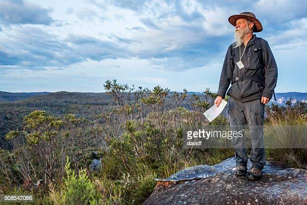 Senior Man Bushwalking in Spectacular Blue Mountains Australian Landscape
