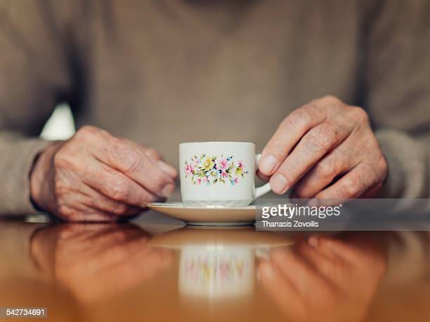 Senior man drinking turkish coffee