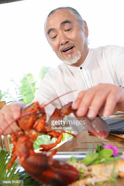 Senior man enjoying a dinner