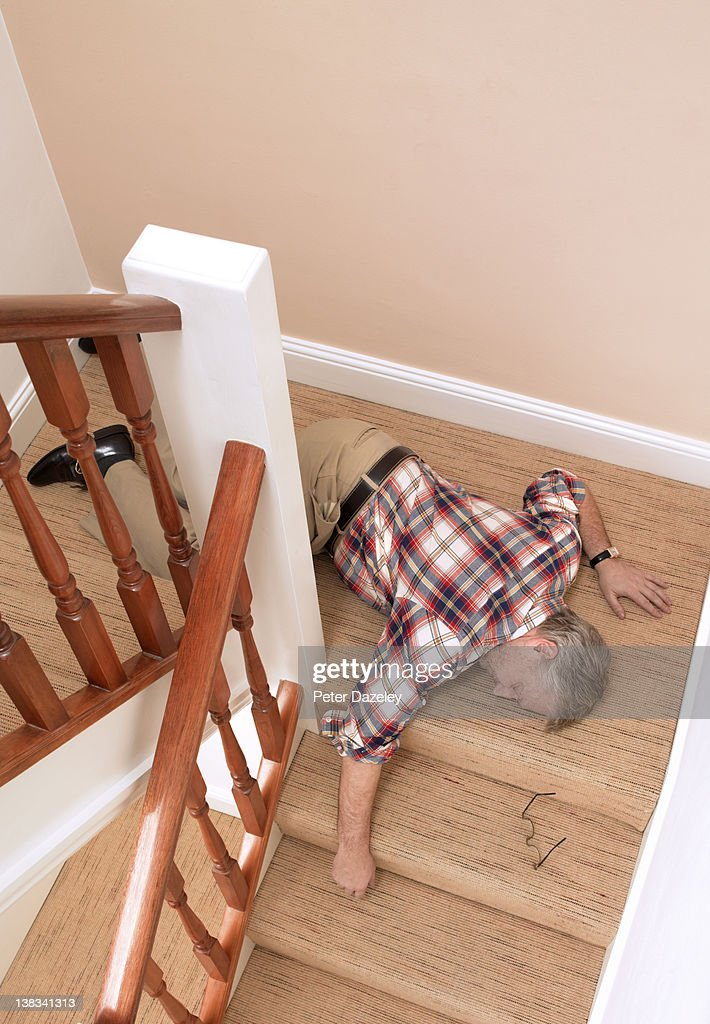 Senior man fallen down staircase