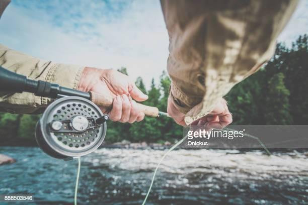 POV Senior Man Fisherman Fly Fishing in A River