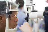 Photo close up of a patient during an eye exam