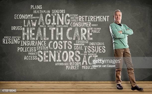Senior Man, Health Care Word Cloud on Blackboard background