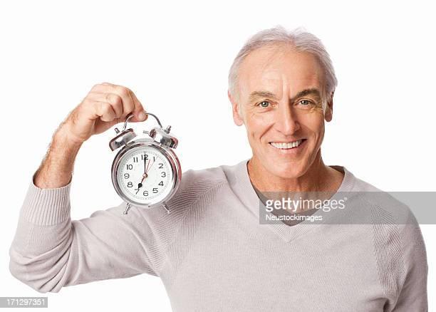 Senior homme tenant réveil-isolé