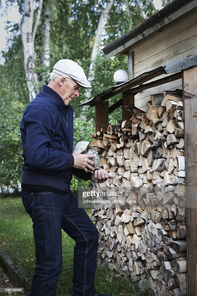 Senior man holding firewood : Stock Photo