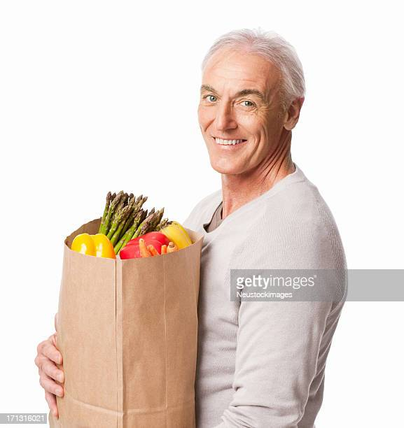 Senior Man Holding Groceries - Isolated