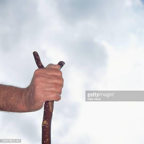Senior man holding walking stick, outdoors, close-up
