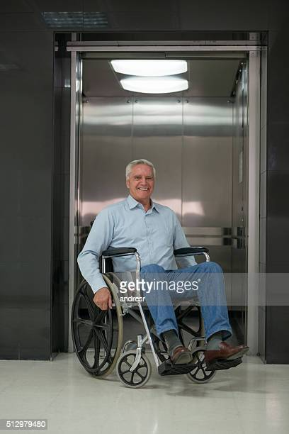 Senior man in a wheelchair at the hospital