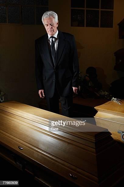 Senior Man in Funeral Home